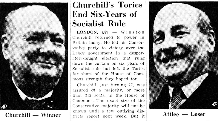 sir winston churchill, british prime minister, conservative party, leader of the opposition, clement attlee, labour party, 1951, october, british election