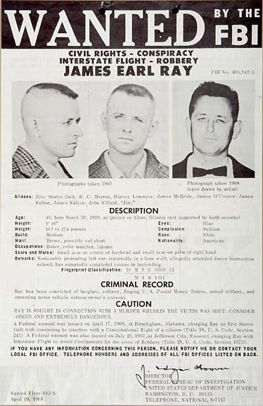 james earl ray, april 1968, fbi most wanted, fbi wanted poster, featured on the fbi tv series, convicted killer, assassination dr martin luther king jr, septuagenarian, senior citizen, died 1998