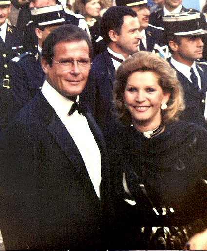roger moore 1989, cannes film festival, english actor, wife luisa mattioli