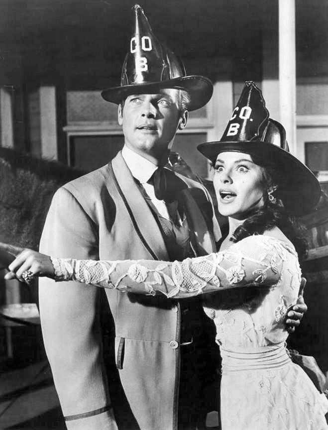 roger moore 1961, english actor, kathleen crowley, american actress, maverick, 1960s television series, 1960s westerns, 1960s tv shows