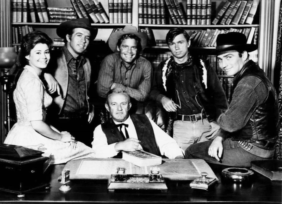 clu gulager, the virginian, western, tv series, 1960s, roberta shore, doug mcclure, james drury, lee j cobb, randy boone