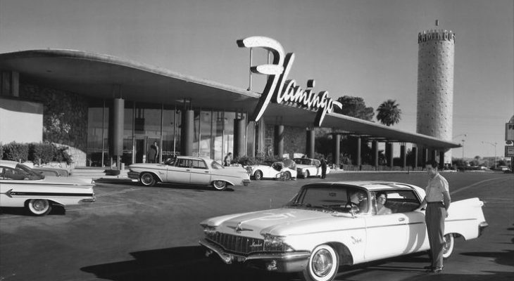 1946 december, the flamingo hotel, las vegas, bugsy siegel, mob investments, 1950s las vegas, 1950s cars