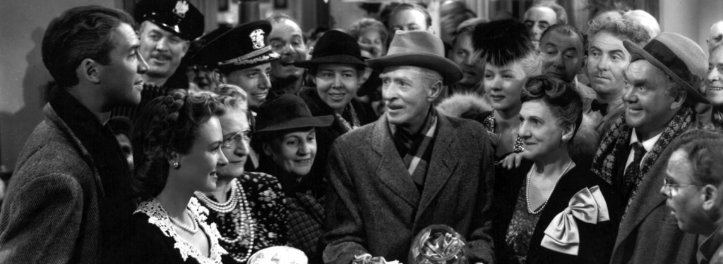1946 december, its a wonderful life, movie premiere, jimmy stewart, james stewart, donna reed, george bailey, mary bailey, bedford falls, henry travers, clarence odbody, guardian angel, h b warner, mr gower, uncle billy bailey, classic christmas movies