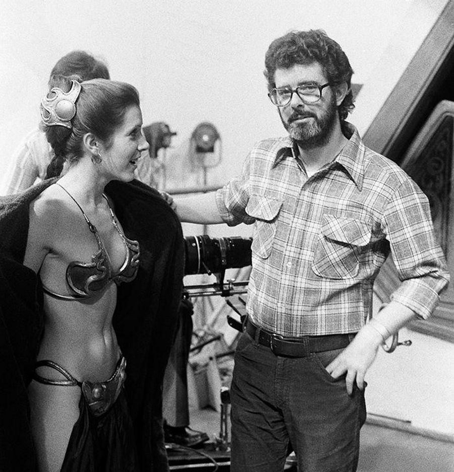 carrie fisher 1970s, george lucas director, american writers, star wars movies, princess leia costume