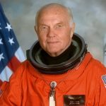 john glenn 1998, american astronaut, first man on the moon, marine corps fighter pilot, united states senator, retired, senior citizen, first american to orbit the earth,