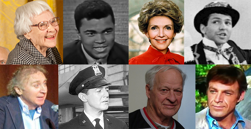 celebrity deaths 2016, died in 2016, cause of death, famous people died 2016, actors, singers, entertainers, harper lee, nancy reagan, frank sinatra jr, don francks, william schallert, muhammad ali, gordie howe, gene wilder,