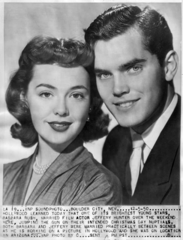barbara rush 1950, jeffrey hunter, married