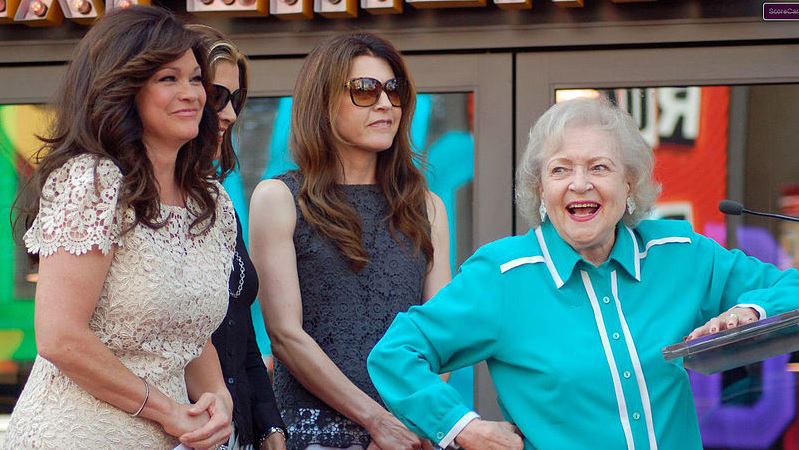 betty white 2012, hot in cleveland cast, jane leeves, wendy malick, valerie bertinelli, american actresses, 2000s television series, 2000s tv sitcoms, nonagenarian, senior citizen, comedian
