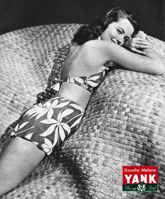 dorothy malone 1945, american actress, model, world war ii, pinup girl, yank magazine poster, younger