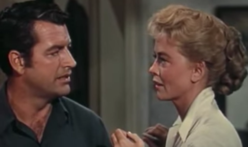 dorothy malone 1956, richard egan, american actors, 1950s movies, 1950s western films, tension at table rock, movie costars, dating, younger