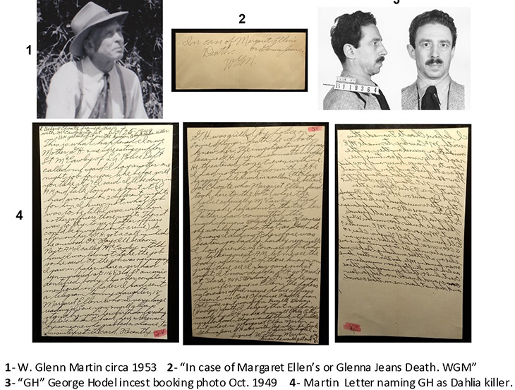 january 1947 news, elizabeth short murder suspects, black dahlia murder case, dr george hill hodel, glenn martin letter, evidence, photo by steve hodel