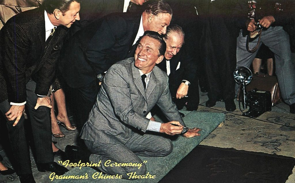 kirk douglas 1962, donald oconnor, george jessel, graumans chinese theatre ceremony