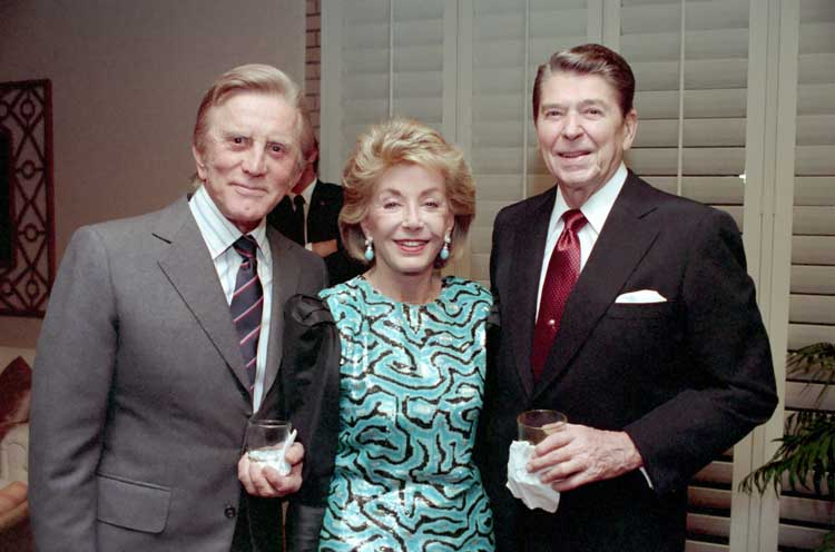 kirk douglas 1987, anne buydens, wife, president of the united states, president ronald reagan, rancho mirage, california, el dorady country club