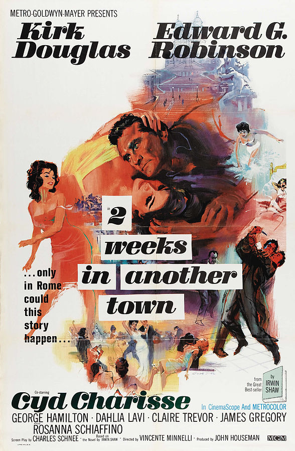 kirk douglas, cyd charisse, 1962 movies, two weeks in another town, movie poster