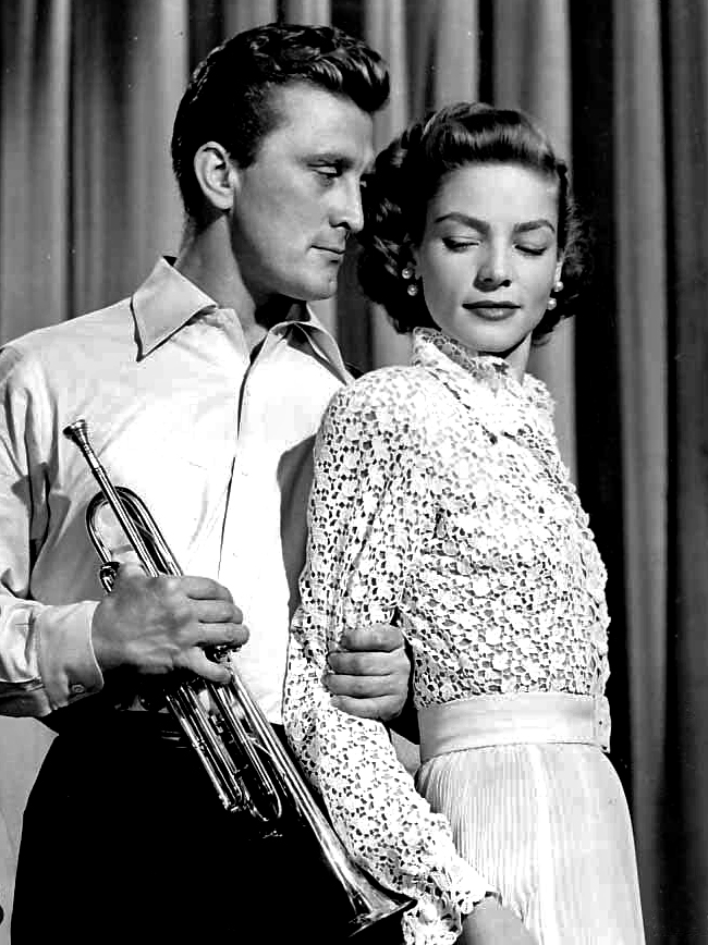 kirk douglas 1950, lauren bacall, 1950s movies, young man with a horn, friends, american actor, actress