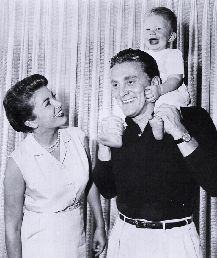 kirk douglas 1956, american actor, wife, anne buydens, son, peter vincent douglas, kirk douglas family