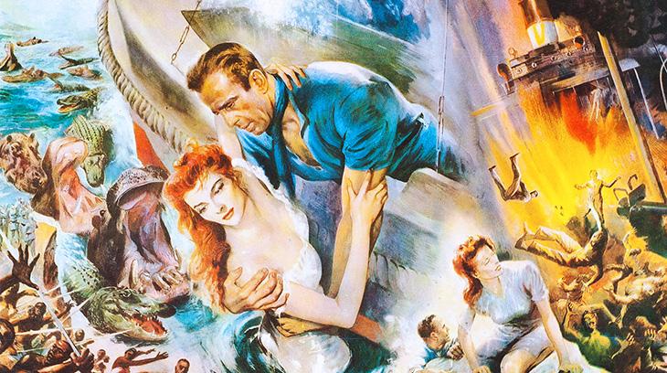 the african queen, 1952 movies, film posters, katharine hepburn, humphrey bogart, american actors, united artists movies,