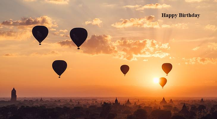 happy birthday wishes, birthday cards, birthday card pictures, famous birthdays, hot air balloons, sunset