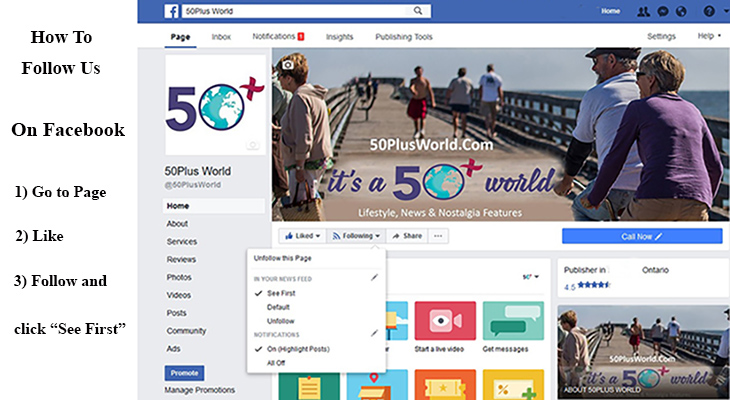 50plus world on facebook, following 50 plus world on facebook, 50 plus world on social media, social media how to for 50plus world