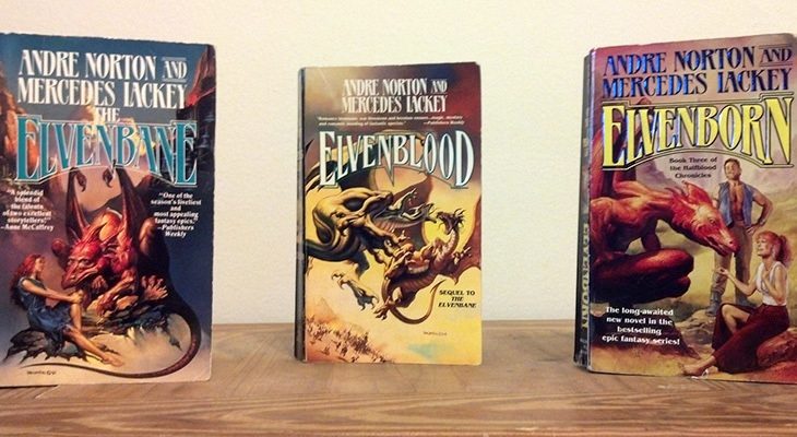 mercedes lackey books, american fantasy writers, andre norton, science fiction authors, halfblood chronicles book covers, elvenbane, elvenblood, elvenborn