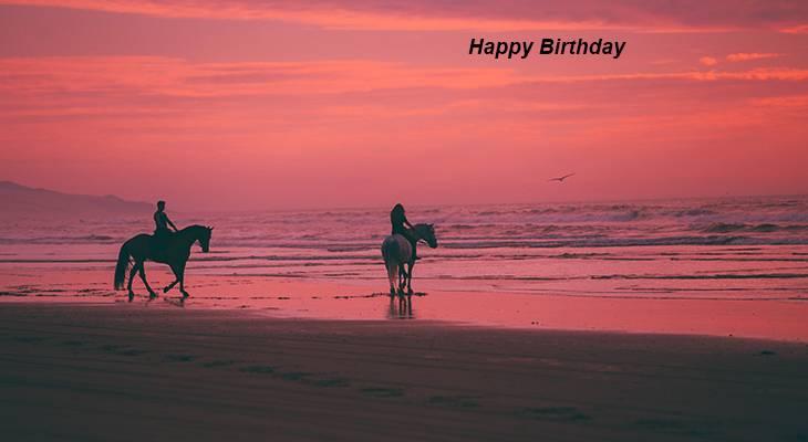 happy birthday wishes, birthday cards, birthday card pictures, horses, animals, beach, sunset, oceano dunes