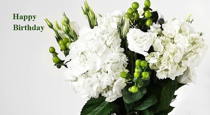 happy birthday wishes, birthday cards, birthday card pictures, famous birthdays, white flowers, flower arrangements