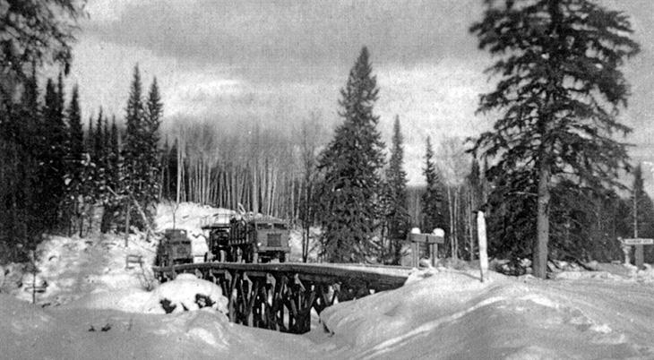 alaskan highway 1942, 1940s world war ii construction projects, alaskan highway 1940s construction, british columbian 1940s history