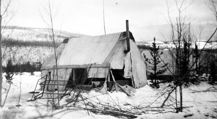 1942 alaskan highway construction, 1940s alaska tent camping, british columbia 1940s history