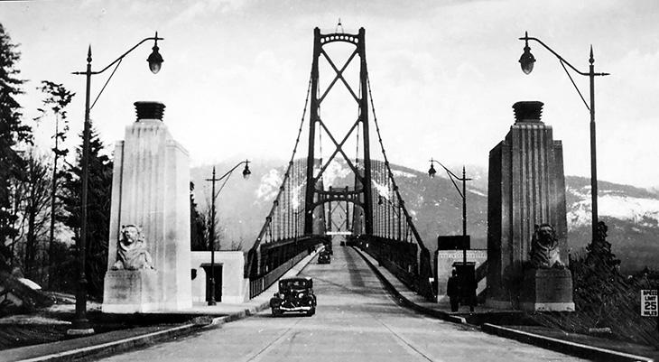 vancouver bc history, vancouver lions gate bridge 1942, 1940s british columbia, north american bridges, canadian bridges