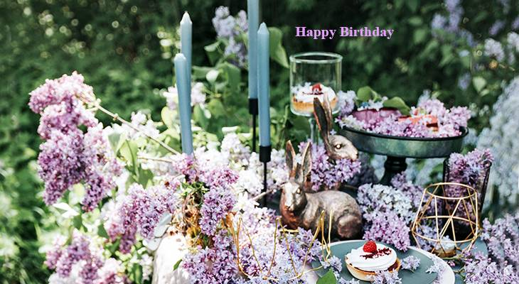 happy birthday wishes, birthday cards, birthday card pictures, famous birthdays, purple flowers, lilacs, candles, cake