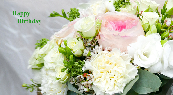 happy birthday wishes, birthday cards, birthday card pictures, famous birthdays, flowers bouquet, white carnations, pink roses,
