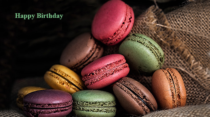 happy birthday wishes, birthday cards, birthday card pictures, famous birthdays, macarons, birthday treats, cookies, food