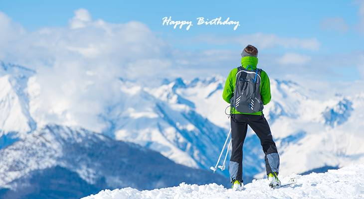 happy birthday wishes, birthday cards, birthday card pictures, famous birthdays, skiing, sports, winter, snow, nature scenery