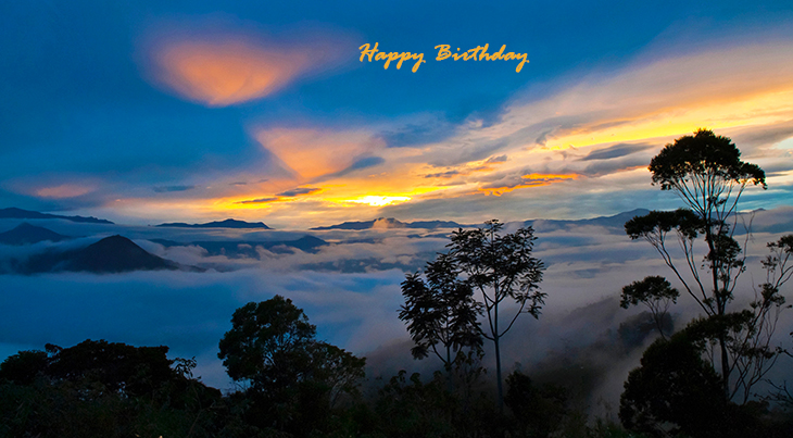 happy birthday wishes, birthday cards, birthday card pictures, famous birthdays, nature scenery, sunset, palm trees, ocean