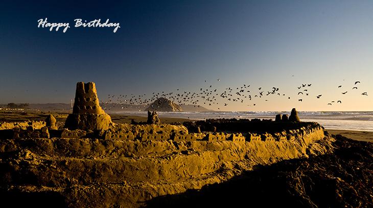 happy birthday wishes, birthday cards, birthday card pictures, famous birthdays, wild birds, sandcastle, beach, nature scenery