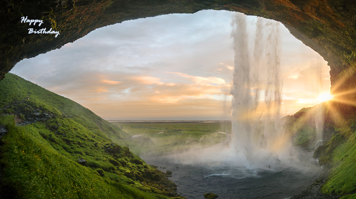 happy birthday wishes, birthday cards, birthday card pictures, famous birthdays, waterfall, iceland, nature scenery