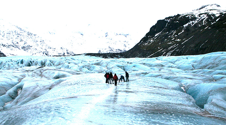 myrdalsjokull glacier, iceland glaciers, blue glacier ice, walking on a glacier