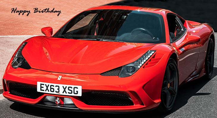 happy birthday wishes, birthday cards, birthday card pictures, famous birthdays, red car, sportscar, automobiles, monte carlo