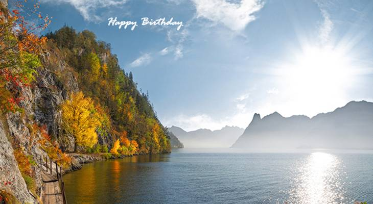 happy birthday wishes, birthday cards, birthday card pictures, famous birthdays, fall colors, autumn leaves, mountains, lake, nature scenery