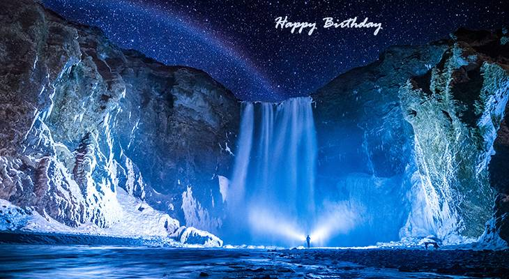 happy birthday wishes, birthday cards, birthday card pictures, famous birthdays, waterfall, skogafoss, rainbow, stars, iceland, nature scenery