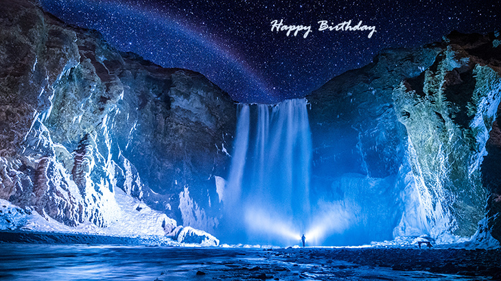 happy birthday wishes, birthday cards, birthday card pictures, famous birthdays, waterfall, skogafoss, rainbow, stars, iceland, nature scenery