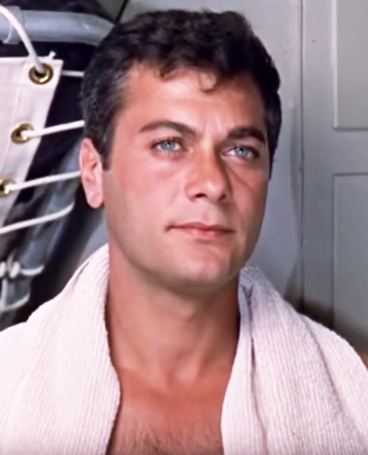 tony curtis 1959, american actor, blue eyes movie stars, 1950s movies, operation petticoat, some like it hot, trapeze, 1960s films, houdini, those daring young men in their jaunty  jalopies