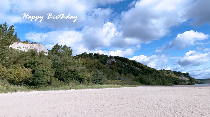 happy birthday wishes, birthday cards, birthday card pictures, famous birthdays, scarborough bluffs park, beach, white clouds, white sand, nature scenery
