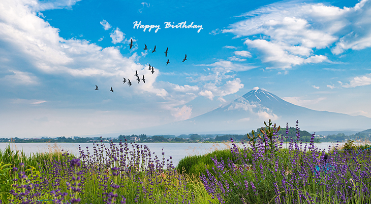happy birthday wishes, birthday cards, birthday card pictures, famous birthdays, birds, blue sky, clouds, nature scenery, japan, yamanashi, purple flowers