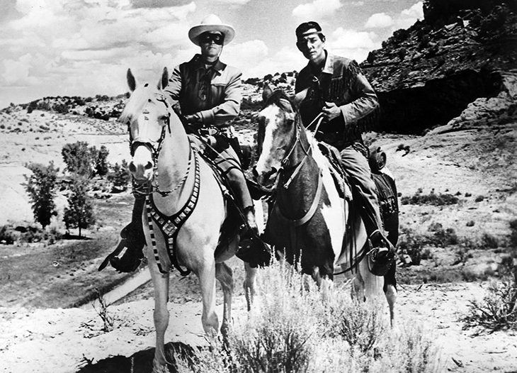 clayton moore, the lone ranger, silver horse, tonto, jay silverheels, scout horse, 1950s tv shows, 1950s western tv series