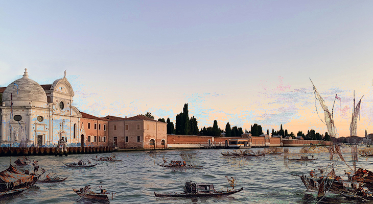 isola di san michele, abandoned venetian lagoon islands, venice italy, francesco guardi, monastery, renaissance church, cemetary island, domed capella emiliani,