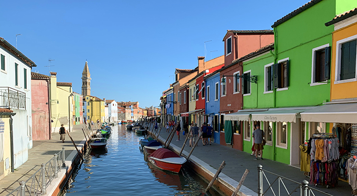 burano italy, painted houses, canal, bright boats, venetian islands, burano lace shops, church of san martino, leaning bell tower