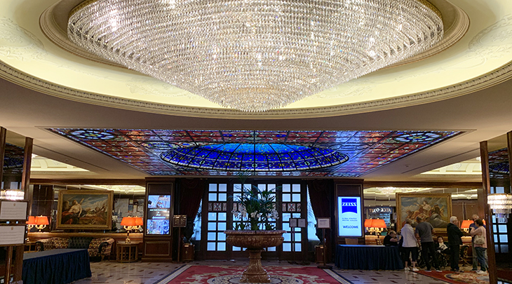 lake maggiore hotel, baveno italy, grand hotel dino lobby, crystal chandelier, stained glass ceiling