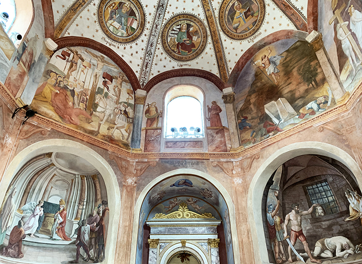 lake maggiore, baveno italy, santi gervasio and protasio church, baptistery, domed ceiling, renaissance frescoes, historic churches of ital