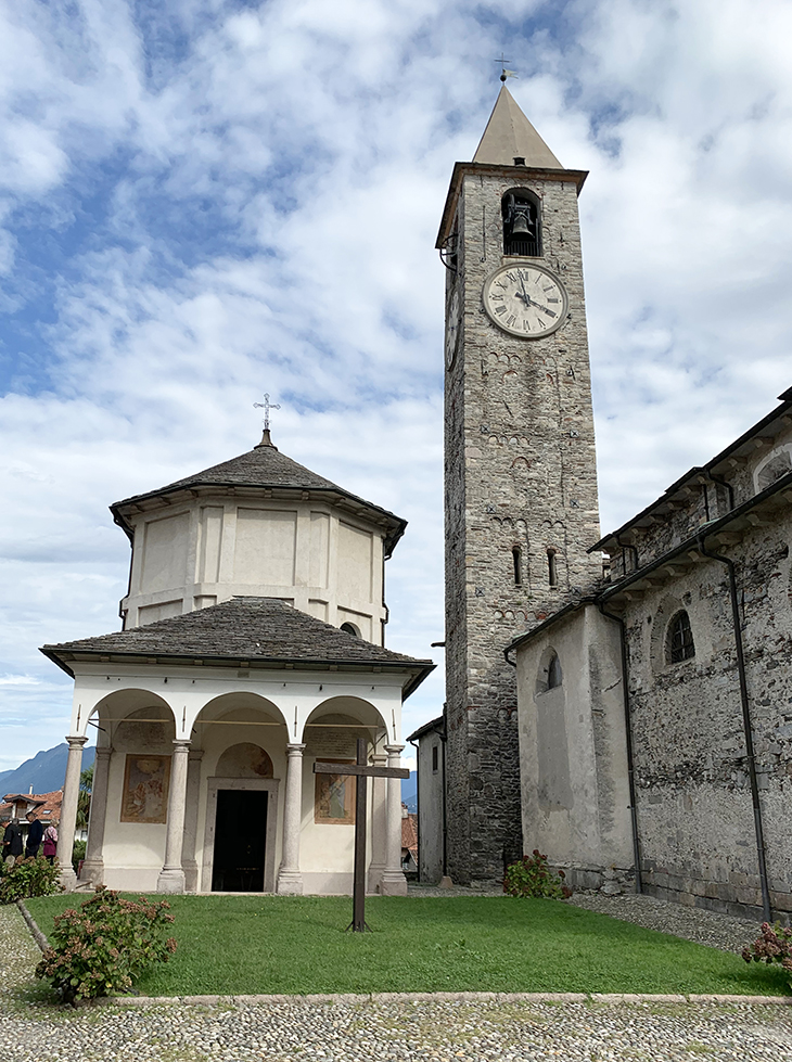 lake maggiore, baveno italy, santi gervasio and protasio church baptistery, piazza della chiesa, bell tower,historic churches of italy